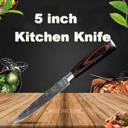 Damasco Cuchillos de Cocina de Acero Inoxidable de 5 pulgadas Cuchillo de Cocina Durable Cuchillo de Chef Mango de Madera Cuchilla Afilada Cuchillos Rebanadores Regalo BC BH1478 desde fabricantes