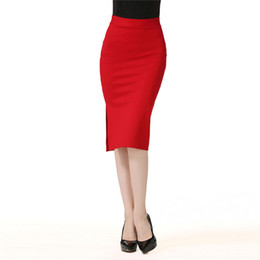 Nouvelle mode femme loisirs coton jupe droite taille haute genou longueur couleur unie Vintage taille élastique jupe ? partir de fabricateur