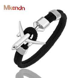 2019 pulseiras de avião Mkendn moda avião s homens charme corda cadeia pulseira paracord estilo masculino das mulheres envoltório de metal esporte gancho desconto pulseiras de avião