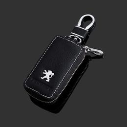 cáscara del caso del mando a distancia nissan Rebajas Cuero de la PU cubierta de la caja de la llave del coche titular de la clave billetera para peugeot 508/5008/308/3008/4008/408/207/206 cubierta de la cadena dominante del coche