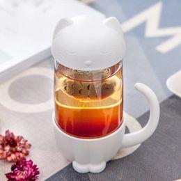 Copas para parejas online-Cat Glass Couple Cup con tapa de vidrio Cartoon filtro taza mano botella de agua taza de té ZZA313