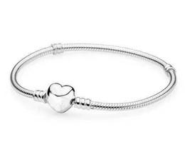 2019 diverse pietre di colore Mescoli il braccialetto placcato argento di dimensione con le catene del serpente a forma di cuore di LOGO degli orecchini Gioielli fai-da-te adatti alle perle di stile europeo all'ingrosso