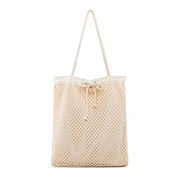 2019 borsa da viaggio houndstooth Vintage Hollow Out Knit Handbag Women Casual Tote Bag Wool Handbag Girls Large Tote Secchi Borsa a tracolla Mesh Net Shopping Bag sconti borsa da viaggio houndstooth