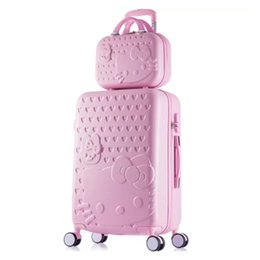 Девушки чемодан багажа онлайн-девушки Hello Kitty чемодан милый багажный набор 20 24-дюймовый мужской / женский чемодан тележка дорожная сумка дети багажная сумка Rolling