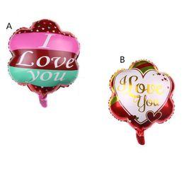 globos en forma de flor Rebajas 18 pulgadas inflables Valentine Ballons del banquete de boda Forma de la flor Globo de papel de aluminio I Love you globo juguetes Ffor decoración de la habitación suministros