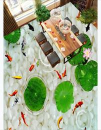 Baños a medida online-Custom 3D PVC autoadhesivo piso foto mural wallpaper HD River Pebble Squid Toilet Room 3D Etiqueta engomada impermeable del piso