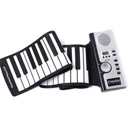 presente novidade eletrônica Desconto Portátil 61 Teclas Piano Silicone Flexível Eletrônico Digital Roll Up Teclado De Piano Macio Para As Crianças Presente de Aniversário Novidade Itens C6906
