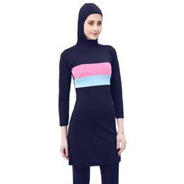 Swimsuit musulmanes on-line-Mulheres Do Sexo Feminino Respirável Swimsuit Muçulmano Conservador De Cintura Alta Swimwear Fino Ocasional Swimsuit Dividir-secagem Rápida macio