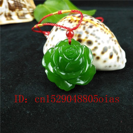 Piedras verdes chinas online-Verde natural de Hetian de piedra tallada Rose Jade colgante collar chino jadeíta joyería del encanto de Reiki Amulet regalos para los hombres de las mujeres