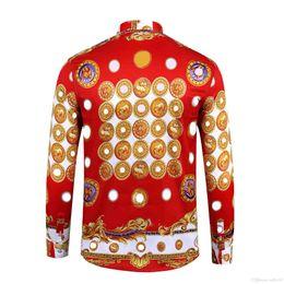 2019 francês roupas homens Brand new camisas de vestido dos homens moda harajuku camisa casual homens medusa black gold fantasia 3d impressão slim fit camisas m-2xl