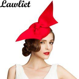 0129fa06 Fascinator Hats Wine Black Red Angel Wing Pure Australian Wool Women Ladies  Pillbox Hat Cocktail Formal Race Derby Wedding Hats