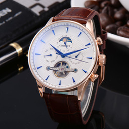 Giorno pvd online-Corgeut 44mm Mens automatici orologi meccanici Guarda Moon Phase Quadrante bianco Blue Data Giorno impermeabile Rosegold pvd caso relogio