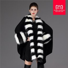 женский зимний платок Скидка Autumn winter women's warm and fashion loose poncho causal cloak long knitted cardigan fake  fur collar shawl coats L1244
