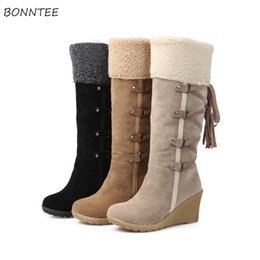 0cd396814f27 Boots Women Winter Trendy Flock High Heel Shoes Womens Warm Plush Lace Up Long  Wedges Snow Boot Leisure Comfortable Big Size discount womens high heel  wedge ...