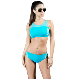 Roupa de banho esportiva on-line-Sexy Listrado Cropped Top Sem Fio Acolchoado Duas Peças Biquíni Swimsuit Sexy Femme Mulheres Swimwear Swimwear Sporty Tankini
