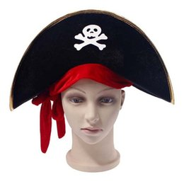Pirate Captain Hat Skull Crossbone Cap Costume Fancy Dress Party Halloween VG
