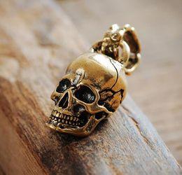 2019 calaveras de latón de cobre Latón Antiqued Copper Key cráneo del metal del oro llavero colgante encadenan Fob para hombre Llavero Esqueleto Accesorios de bricolaje para calaveras de latón de cobre baratos