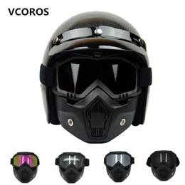 2020 cascos modulares Nuevo VCOROS máscara modular desmontable gafas y filtro de boca perfecto para la cara abierta de la vendimia cascos de moto Coolplay máscara cascos modulares baratos