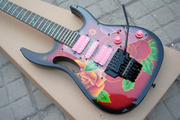Guitarra elétrica rosa on-line-China RG77 Steve Vai guitarra flor padrão guitarra verde videira Fingerboard embutimento preto Floyd Rose Tremolo HSH rosa Pickups