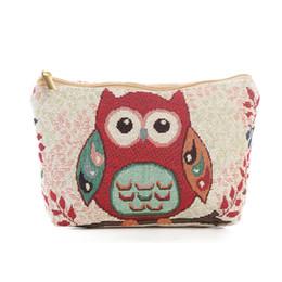 sacos de armazenamento coruja Desconto Saco de cosméticos OWL Multi-fuction bolsa de lona bolsa de Maquiagem ferramentas de higiene pessoal sacos de armazenamento de bordados tópicos 9 estilos