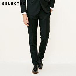 7abd6bca9ebfb SELECTED Pantalón de traje de color puro slim fit en mezcla de lana para  hombre T
