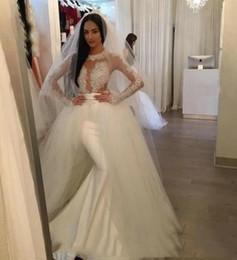 Vestido de casamento de cetim removível on-line-2019 New Custom Made vestidos de noiva sexy com mangas Francês Satin Mermaid removível Tulle Overskirt vestido de casamento ABITI da sposa