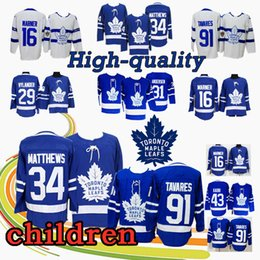 2019 jersey de hojas 43 JÓVENES Jersey de hockey Toronto Maple Leafs 91 John Tavares 16 Mitch Marner 34 Auston Matthews 29 William Nylander 43 camisetas jersey de hojas 43 baratos