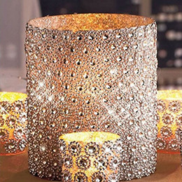 "crystal ribbon cake Promo Codes - Silver 3 .75 ""*15ft (5yards )6rows Sunflower Diamond Mesh Bling Crystal Ribbon Trim Wedding Cake Candle Decor"