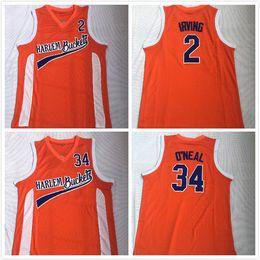 2019 Mens Uncle Drew Harlem Buckets Movie Basketball Jersey cucita giallo # 2 Kyrie Irving # 34 Shaq O'Neal Jersey S-2XL drop shipping da