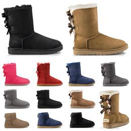 correia macia da motocicleta Desconto 2020 ugg boots designer austrália mulheres clássicas botas de neve tornozelo curto arco bota de pele para o inverno preto cinza castanha vermelho moda feminina sapatos tamanho