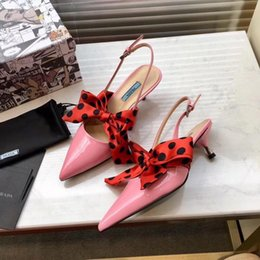 Sapatilhas de salto alto rosa on-line-Ting2594 317230 Bow Tie, Pink Mulheres Salto Baixo Sandálias de Salto Alto Chinelos Mulas Slides Bombas Sapatos Sneakers Vestido Sapatos