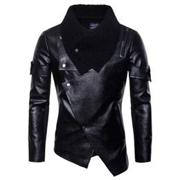 uomini blazer collari di pelliccia Sconti Dropshipping 2019 MotoBiker PU Giacca Irregolare personalità Criss-Cross Coat antivento Punk moda maschile