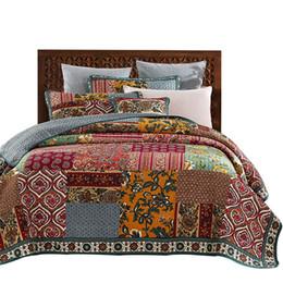 2019 patchwork quilt bettdecken American Patchwork Tagesdecke Quilt Set 3 stücke Vintage gesteppte Bettwäsche Handgemachte Bettdecken König Königin Full Size Bettdecke günstig patchwork quilt bettdecken