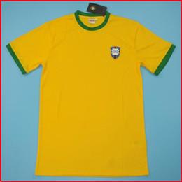 Бразильская желтая майка онлайн-1970 Чемпионат мира в Бразилии ретро футбол Джерси Урожай классический память античной коллекции 1970 BR Пеле футбол рубашку домашний желтый FUTEBOL