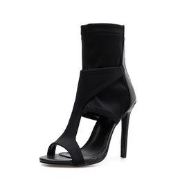 Sandales gladiateur mi-mollet en Ligne-Été Gladiator Sandals Européenne Sexy Party Chaussures Chaussures Femmes Sandales Bout Ouvert Mi-Mollette Chaussette Bottines Stretch Tissu Talon Haut