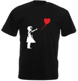 Xl palloncini online-Maglietta girocollo a maniche corte estiva in cotone nero Maglietta girocollo stampata a banana Banksy Balloon Girl Banksy