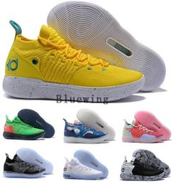 women kd shoes Coupons - Eybl Kd 11 Basketball Shoes Sneakers Men Women  Yellow Still Emoji ce26bd1397