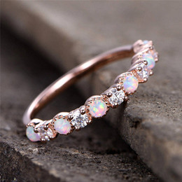 Diamante di pietra lunare online-Anello con diamante aureliano e fede nuziale in oro rosa antico con pietra di luna
