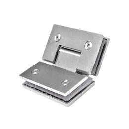 Puertas de vidrio de acero online-Bisagra para puerta de ducha de vidrio de 135 grados a clase Bisagras para puerta de ducha de acero inoxidable Abrazadera de vidrio Herrajes