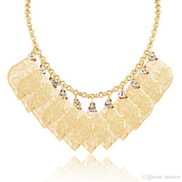 pratos de festa Desconto Bonita declaração colar em choker 2016 nova moda jóias de ouro / platinadas cocktail party robusto maxi pingentes colares