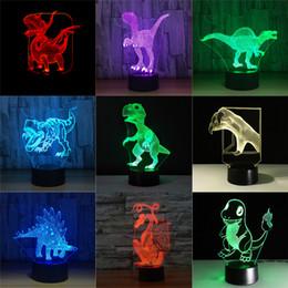 Presentes do bebé on-line-Jurassic dinossauro 3D LED Night Lights 7 Cores remoto interruptor de toque Desk Table Lamp Bebê de sono claro para o menino caçoa o presente