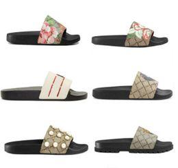 Deutschland Designer Männer Frauen Sandalen mit Correct Blumenkastenstaubbeutel Schuhe Schlangendruck Slide Sommer Weit Flache Sandalen Slipper Versorgung
