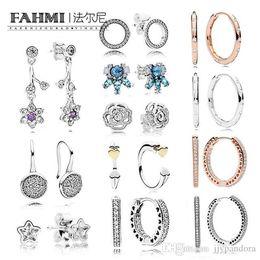 Acqua di zampa online-FAHMI 100% 925 moda in argento sterling margherita orecchini a perno gocce d'acqua Love Star Ice Crystal Paw Intarsio orecchino