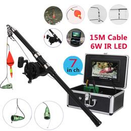 moniteur vidéo led Promotion PDDHKK 7 '' pouce HD Monitor 1000 TVL Vidéo étanche Caméra de pêche sous-marine 6 PCS 1W Lumineux LED IR IR avec 30M Voir roue