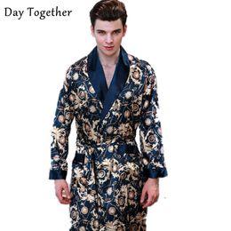 uomini abiti da casa Sconti 2019 abiti di raso di lusso maschile Kimono vestaglia manica lunga da uomo di seta accappatoio per il tempo libero indumenti da notte per la casa degli uomini