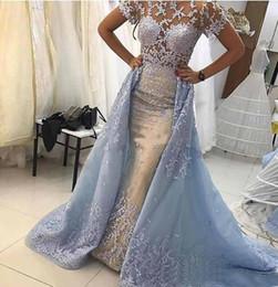 2019 exquisite festzug kleider Exquisite Spitze Brautkleider mit abnehmbarem Rock Anlass Arabisch Dubai Vestidos De Festa Brautkleid Festzug Celebrity Ballkleid günstig exquisite festzug kleider