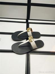 Pantofole in pelle dorata online-Oro Marmont DoubleG NEW Infradito in pelle Sandali Scarpe Sandali Pantofole Scarpe Infradito con scatola