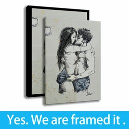 couple cartoon painting Coupons - Simple Style Paintings Couples Kiss Art HD Print Bathroom Decor Canvas Framed Art - Ready To Hang - Framed
