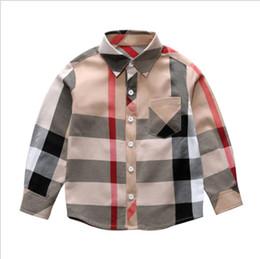 2019 printemps nouveaux garçons chemise à carreaux mode coton T-shirt marque pull à manches longues filles robe livraison gratuite ? partir de fabricateur