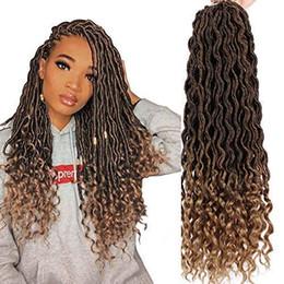 2019 trama del pelo bohemio Dorsanee Diosa Faux Locs Crochet Trenzas para el cabello Ondulado Trenzado sintético Cabello de onda profunda Extremos rizados Loc Extensión del cabello Nuevo estilo Moda